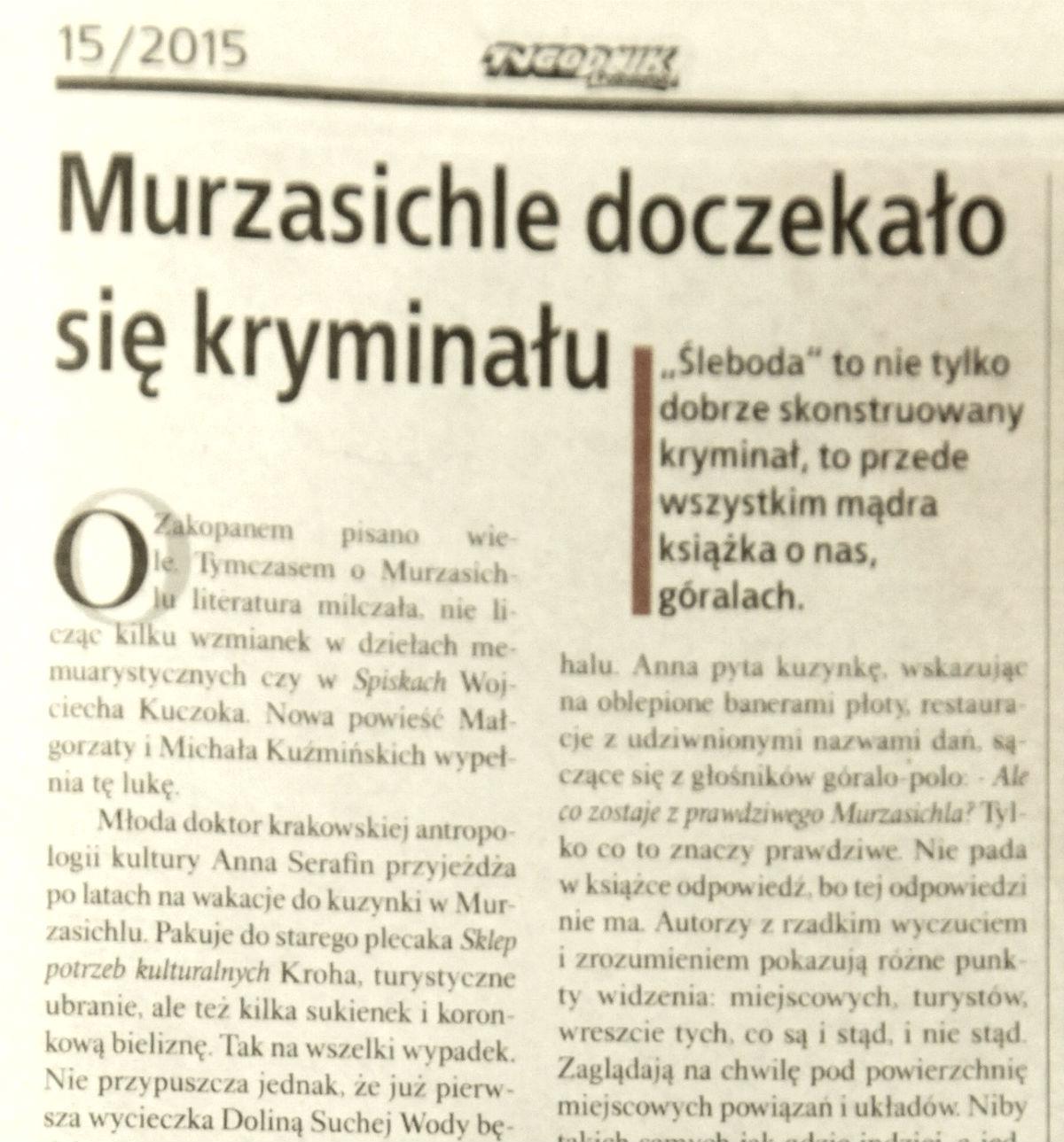 Recenzja z Tygodnika Podhalańskiego 15/2015